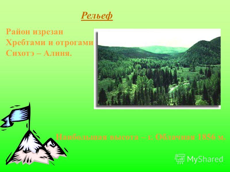 Рельеф Район изрезан Хребтами и отрогами Сихотэ – Алиня. Наибольшая высота – г. Облачная 1856 м.