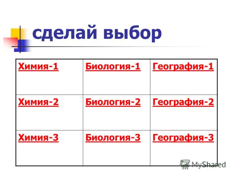 сделай выбор Химия-1Биология-1География-1 Химия-2Биология-2География-2 Химия-3Биология-3География-3