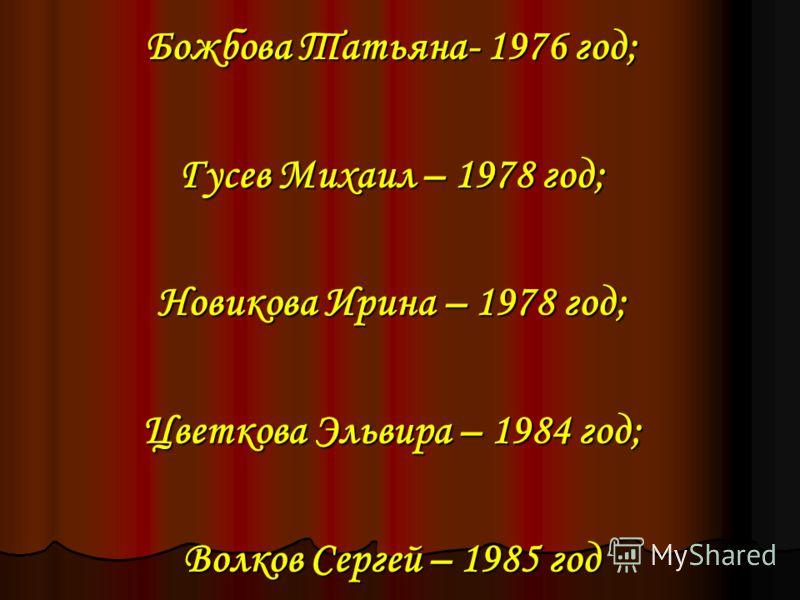 Божбова Татьяна- 1976 год; Гусев Михаил – 1978 год; Новикова Ирина – 1978 год; Цветкова Эльвира – 1984 год; Волков Сергей – 1985 год