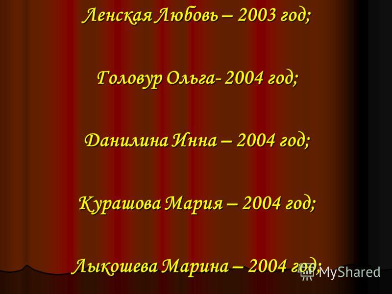 Ленская Любовь – 2003 год; Головур Ольга- 2004 год; Данилина Инна – 2004 год; Курашова Мария – 2004 год; Лыкошева Марина – 2004 год;