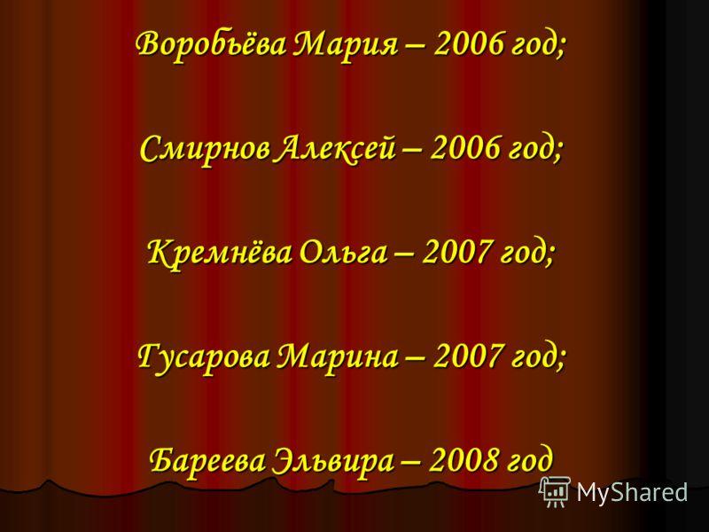 Воробьёва Мария – 2006 год; Смирнов Алексей – 2006 год; Кремнёва Ольга – 2007 год; Гусарова Марина – 2007 год; Бареева Эльвира – 2008 год