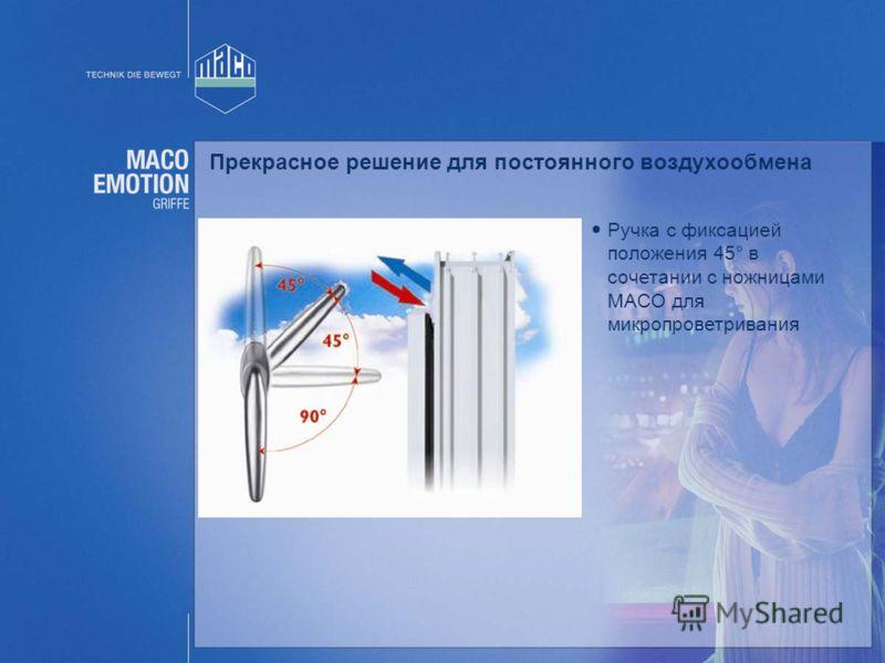 Прекрасное решение для постоянного воздухообмена Ручка с фиксацией положения 45° в сочетании с ножницами MACO для микропроветривания
