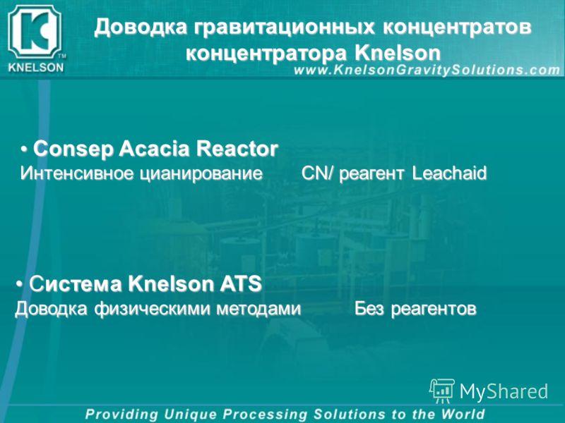 Доводка гравитационных концентратов концентратора Knelson Система Knelson ATS Система Knelson ATS Доводка физическими методамиБез реагентов Consep Acacia Reactor Consep Acacia Reactor Интенсивное цианирование CN/ реагент Leachaid