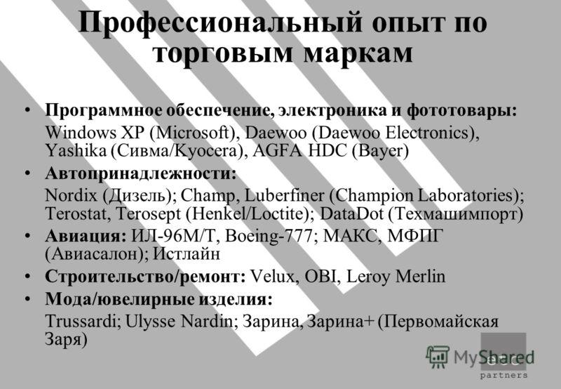 Профессиональный опыт по торговым маркам Программное обеспечение, электроника и фототовары: Windows XP (Microsoft), Daewoo (Daewoo Electronics), Yashika (Сивма/Kyocera), AGFA HDC (Bayer) Автопринадлежности: Nordix (Дизель); Champ, Luberfiner (Champio
