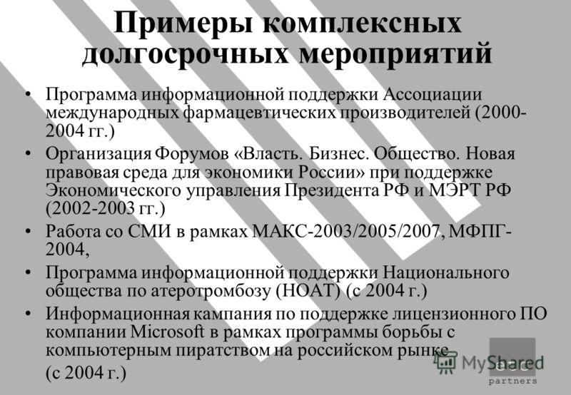 Примеры комплексных долгосрочных мероприятий Программа информационной поддержки Ассоциации международных фармацевтических производителей (2000- 2004 гг.) Организация Форумов «Власть. Бизнес. Общество. Новая правовая среда для экономики России» при по