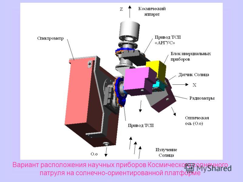 Вариант расположения научных приборов Космического солнечного патруля на солнечно-ориентированной платформе