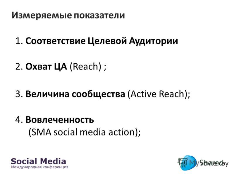 Измеряемые показатели 2. Охват ЦА (Reach) ; 3. Величина сообщества (Active Reach); 1. Соответствие Целевой Аудитории 4. Вовлеченность (SMA social media action);