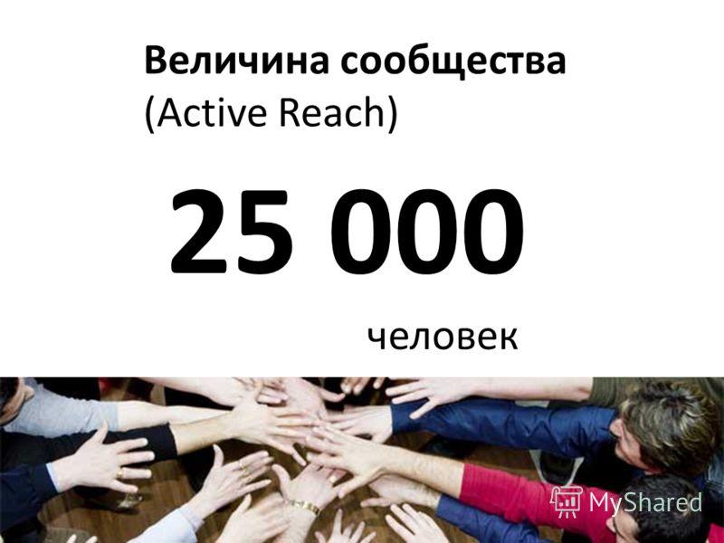 Величина сообщества (Active Reach) 25 000 человек
