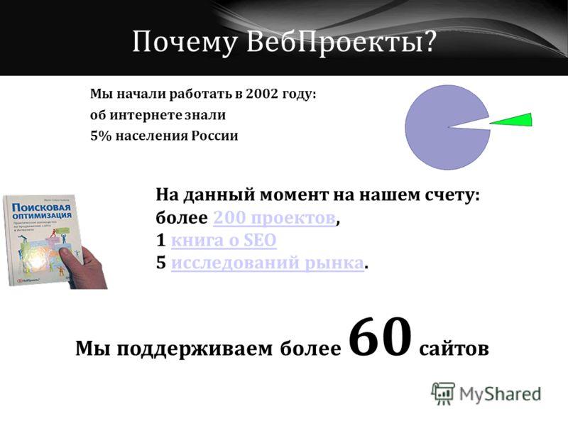 Почему ВебПроекты? Мы начали работать в 2002 году: об интернете знали 5% населения России На данный момент на нашем счету: более 200 проектов,200 проектов 1 книга о SEOкнига о SEO 5 исследований рынка.исследований рынка Мы поддерживаем более 60 сайто