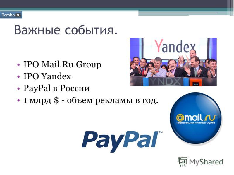 Важные события. IPO Mail.Ru Group IPO Yandex PayPal в России 1 млрд $ - объем рекламы в год.