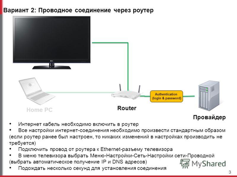 Вариант 2: Проводное соединение через роутер Интернет кабель необходимо включить в роутер Все настройки интернет-соединения необходимо произвести стандартным образом (если роутер ранее был настроен, то никаких изменений в настройках производить не тр