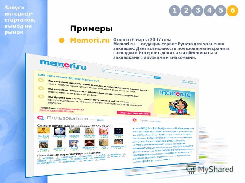 Запуск интернет- стартапов, вывод на рынок Примеры 123456 Memori.ru Открыт: 6 марта 2007 года Memori.ru ведущий сервис Рунета для хранения закладок. Дает возможность пользователям хранить закладки в Интернет, делиться и обмениваться закладками с друз
