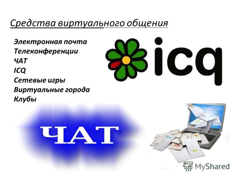Средства виртуального общения Электронная почта Телеконференции ЧАТ ICQ Сетевые игры Виртуальные города Клубы