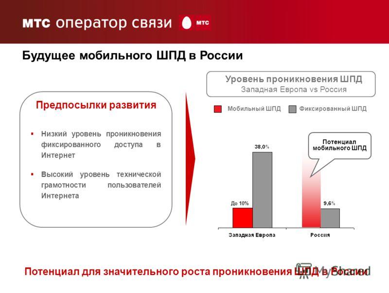 7 Мобильный ШПДФиксированный ШПД Потенциал мобильного ШПД До 10% Низкий уровень проникновения фиксированного доступа в Интернет Высокий уровень технической грамотности пользователей Интернета Уровень проникновения ШПД Западная Европа vs Россия Будуще