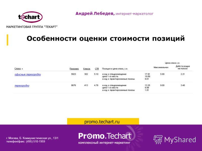 Особенности оценки стоимости позиций Андрей Лебедев, интернет-маркетолог