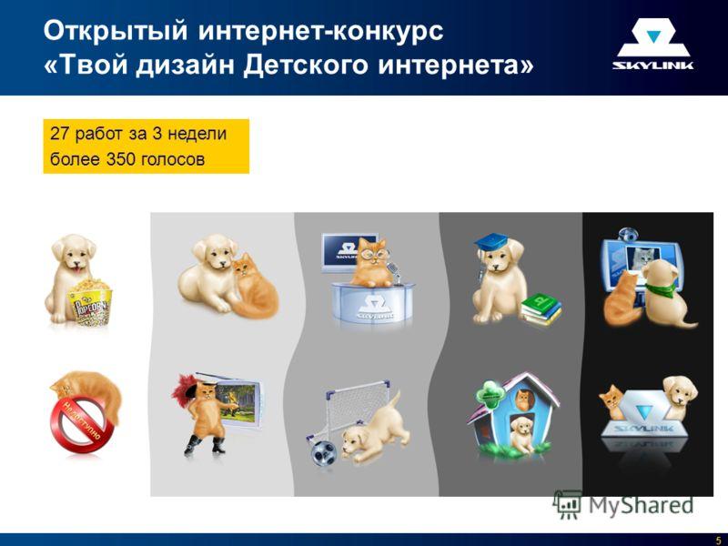 5 Открытый интернет-конкурс «Твой дизайн Детского интернета» 27 работ за 3 недели более 350 голосов