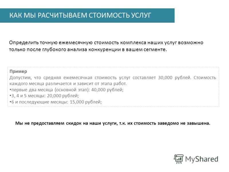 КАК МЫ РАСЧИТЫВАЕМ СТОИМОСТЬ УСЛУГ Определить точную ежемесячную стоимость комплекса наших услуг возможно только после глубокого анализа конкуренции в вашем сегменте. Пример Допустим, что средняя ежемесячная стоимость услуг составляет 30,000 рублей.