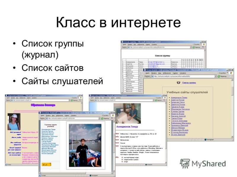 Класс в интернете Список группы (журнал) Список сайтов Сайты слушателей