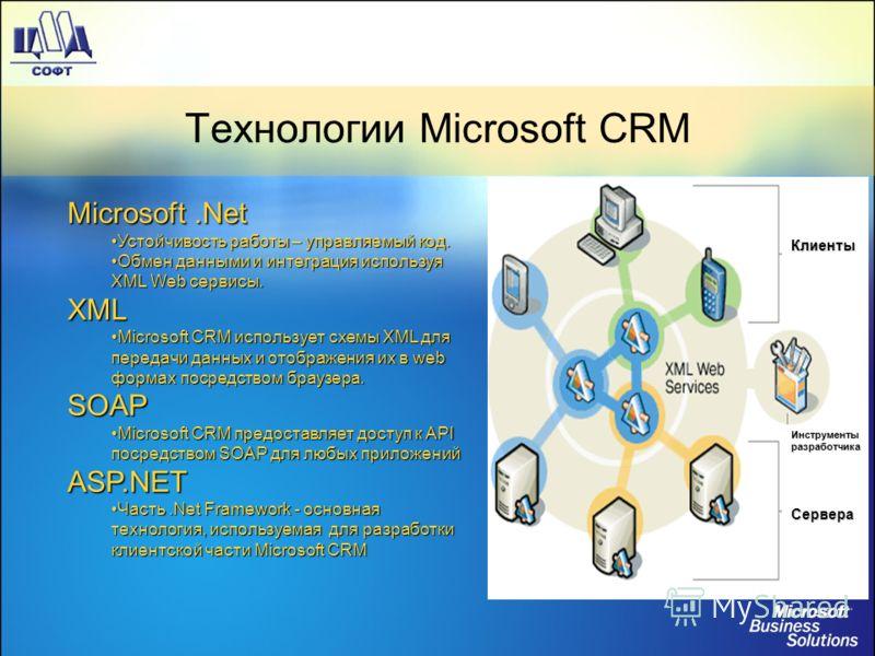 Технологии Microsoft CRM Microsoft.Net Устойчивость работы – управляемый код.Устойчивость работы – управляемый код. Обмен данными и интеграция используя XML Web сервисы.Обмен данными и интеграция используя XML Web сервисы.XML Microsoft CRM использует