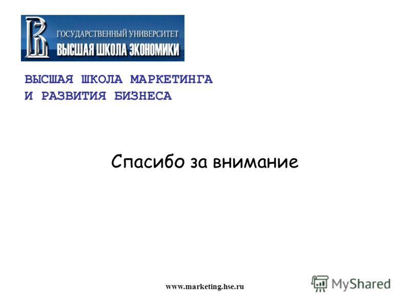ВЫСШАЯ ШКОЛА МАРКЕТИНГА И РАЗВИТИЯ БИЗНЕСА Спасибо за внимание www.marketing.hse.ru