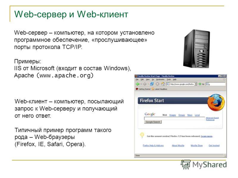 Web-сервер и Web-клиент Web-сервер – компьютер, на котором установлено программное обеспечение, «прослушивающее» порты протокола TCP/IP. Примеры: IIS от Microsoft (входит в состав Windows), Apache (www.apache.org) Web-клиент – компьютер, посылающий з