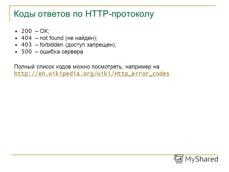 Коды ответов по HTTP-протоколу 200 – ОК; 404 – not found (не найден); 403 – forbidden (доступ запрещен); 500 – ошибка сервера Полный список кодов можно посмотреть, например на http://en.wikipedia.org/wiki/Http_error_codes http://en.wikipedia.org/wiki