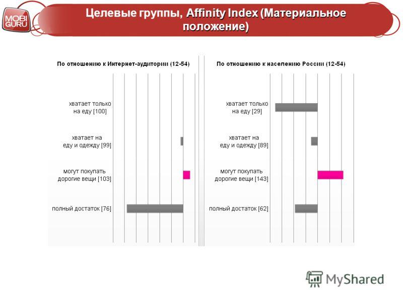 Affinity Index (Материальное положение) Целевые группы, Affinity Index (Материальное положение)