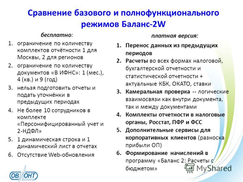Сравнение базового и полнофункционального режимов Баланс-2W бесплатно: 1.ограничение по количеству комплектов отчётности 1 для Москвы, 2 для регионов 2.ограничение по количеству документов «В ИФНС»: 1 (мес.), 4 (кв.) и 9 (год) 3.нельзя подготовить от
