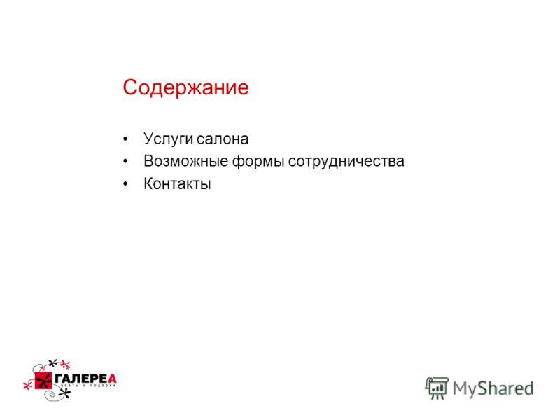 Содержание Услуги салона Возможные формы сотрудничества Контакты
