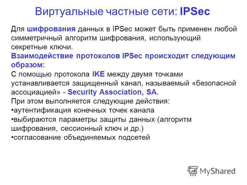 Виртуальные частные сети: IPSec Для шифрования данных в IPSec может быть применен любой симметричный алгоритм шифрования, использующий секретные ключи. Взаимодействие протоколов IPSec происходит следующим образом: С помощью протокола IKE между двумя