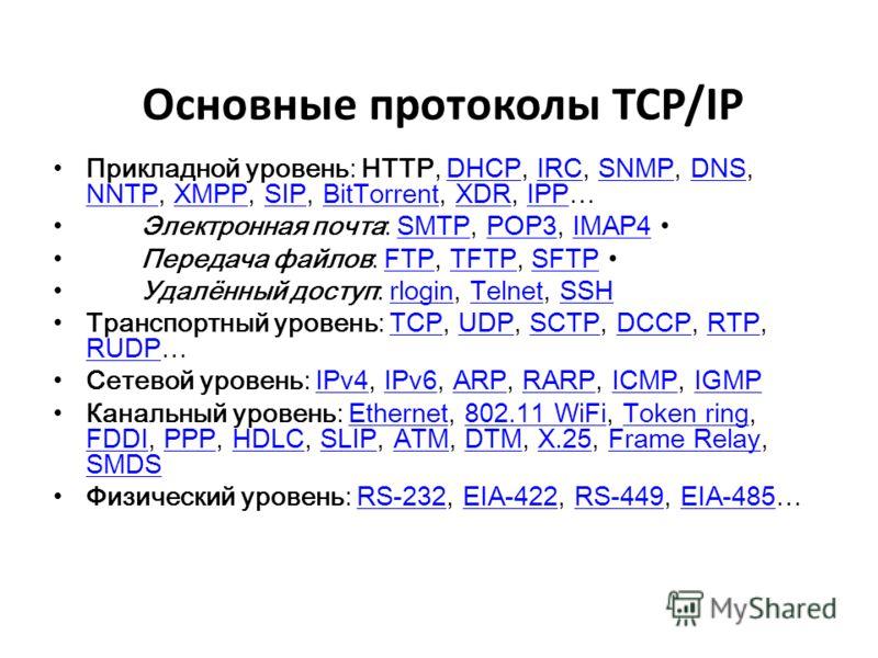 Основные протоколы TCP/IP Прикладной уровень: HTTP, DHCP, IRC, SNMP, DNS, NNTP, XMPP, SIP, BitTorrent, XDR, IPP…DHCPIRCSNMPDNS NNTPXMPPSIPBitTorrentXDRIPP Электронная почта: SMTP, POP3, IMAP4 SMTPPOP3IMAP4 Передача файлов: FTP, TFTP, SFTP FTPTFTPSFTP