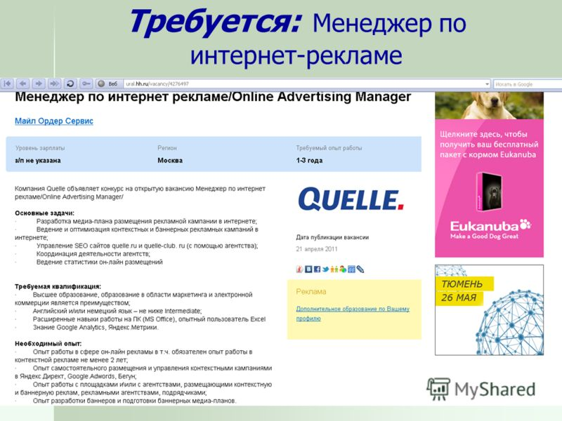 Требуется: Менеджер по интернет-рекламе
