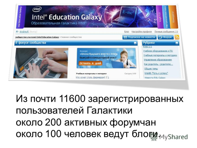 Из почти 11600 зарегистрированных пользователей Галактики около 200 активных форумчан около 100 человек ведут блоги.