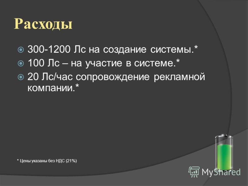Расходы 300-1200 Лс на создание системы.* 100 Лс – на участие в системе.* 20 Лс/час сопровождение рекламной компании.* * Цены указаны без НДС (21%)