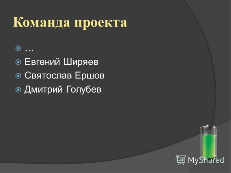 Команда проекта … Евгений Ширяев Святослав Ершов Дмитрий Голубев