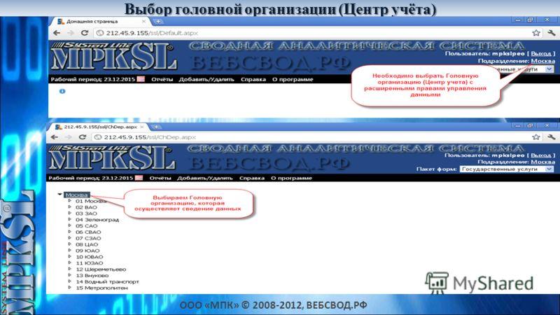 ООО «МПК» © 2008-2012, ВЕБСВОД.РФ Выбор головной организации (Центр учёта) Дешевле