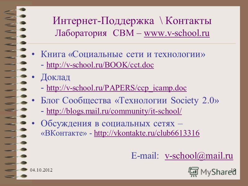 29.07.201219 Интернет-Поддержка \ Контакты Лаборатория СВМ – www.v-school.ruwww.v-school.ru Книга «Социальные сети и технологии» - http://v-school.ru/BOOK/cct.doc http://v-school.ru/BOOK/cct.doc Доклад - http://v-school.ru/PAPERS/ccp_icamp.doc http:/