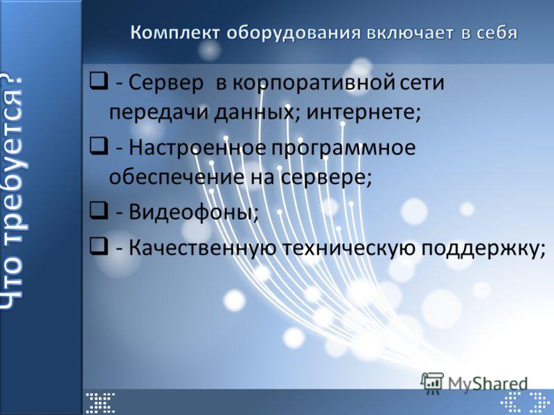 - Сервер в корпоративной сети передачи данных; интернете; - Настроенное программное обеспечение на сервере; - Видеофоны; - Качественную техническую поддержку;