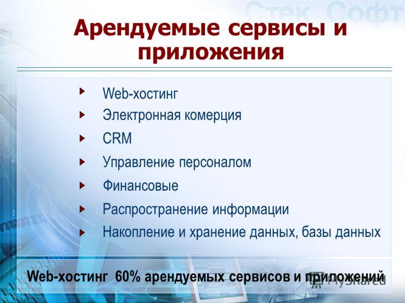 Арендуемые сервисы и приложения Web-хостинг Электронная комерция CRM Управление персоналом Финансовые Распространение информации Накопление и хранение данных, базы данных Web-хостинг 60% арендуемых сервисов и приложений