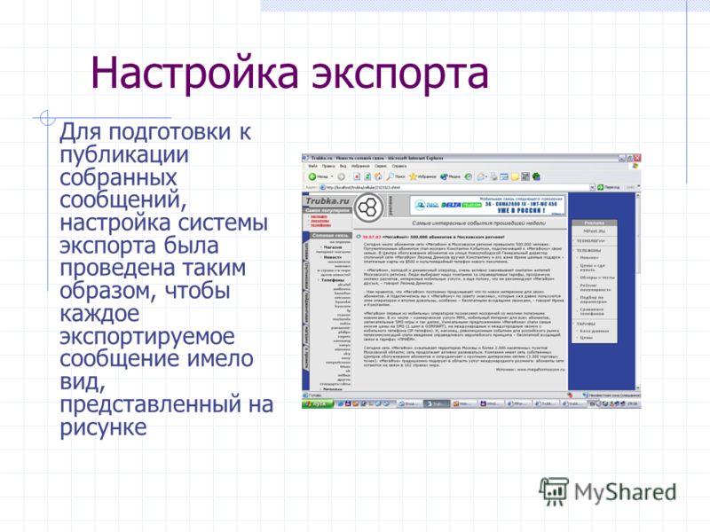 Настройка экспорта Для подготовки к публикации собранных сообщений, настройка системы экспорта была проведена таким образом, чтобы каждое экспортируемое сообщение имело вид, представленный на рисунке