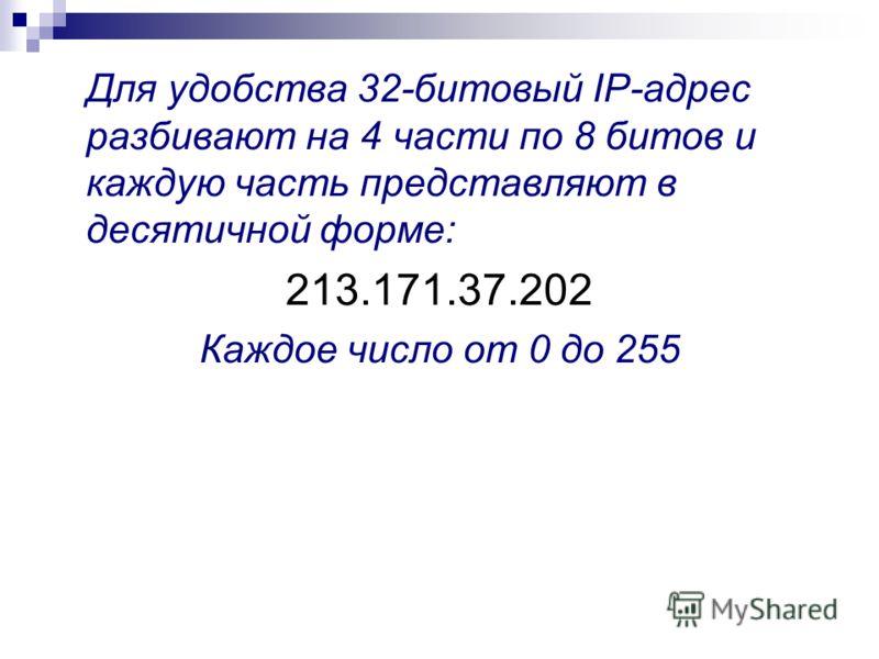 Для удобства 32-битовый IP-адрес разбивают на 4 части по 8 битов и каждую часть представляют в десятичной форме: 213.171.37.202 Каждое число от 0 до 255