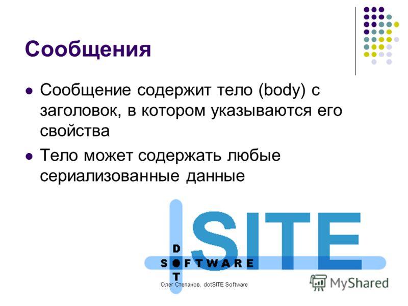 Олег Степанов, dotSITE Software Сообщения Сообщение содержит тело (body) с заголовок, в котором указываются его свойства Тело может содержать любые сериализованные данные