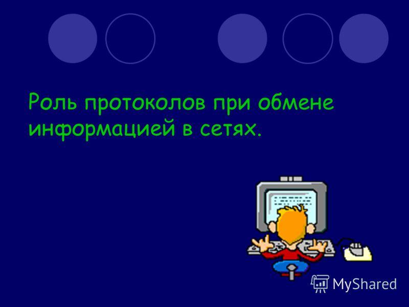 Роль протоколов при обмене информацией в сетях.