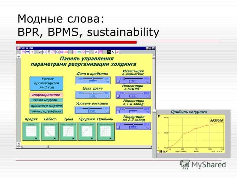 Модные слова: BPR, BPMS, sustainability