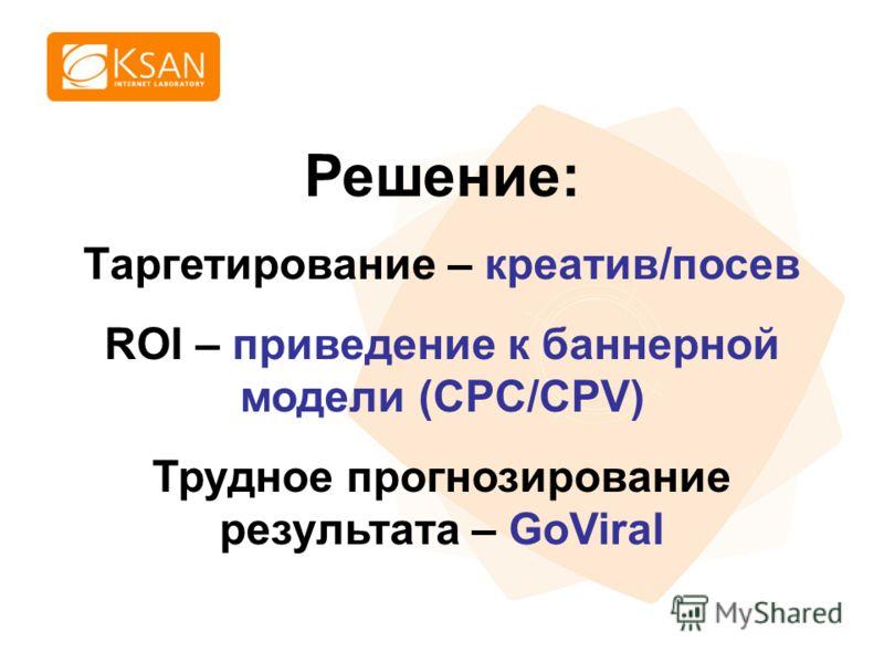 www.ksan.ru Решение: Таргетирование – креатив/посев ROI – приведение к баннерной модели (CPC/CPV) Трудное прогнозирование результата – GoViral