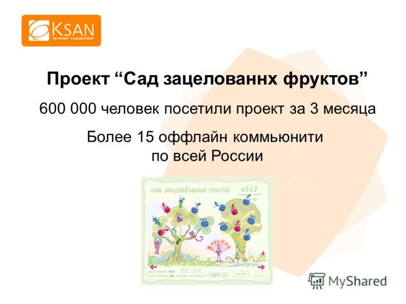 www.ksan.ru Проект Сад зацелованнх фруктов 600 000 человек посетили проект за 3 месяца Более 15 оффлайн коммьюнити по всей России