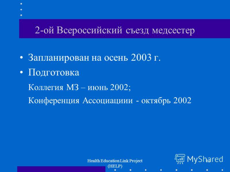 Health Education Link Project (HELP) 12 2-ой Всероссийский съезд медсестер Запланирован на осень 2003 г. Подготовка Коллегия МЗ – июнь 2002; Конференция Ассоциациии - октябрь 2002
