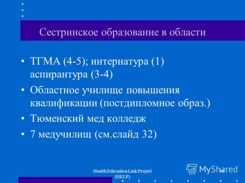 Health Education Link Project (HELP) 38 Сестринское образование в области ТГМА (4-5); интернатура (1) аспирантура (3-4) Областное училище повышения квалификации (постдипломное образ.) Тюменский мед колледж 7 медучилищ (см.слайд 32)