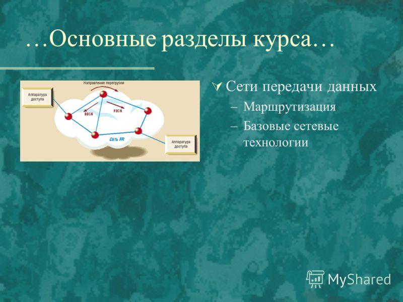 …Основные разделы курса… Сети передачи данных –Маршрутизация –Базовые сетевые технологии