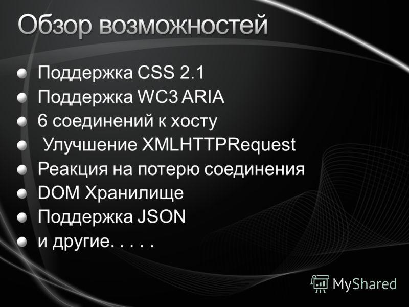 Поддержка CSS 2.1 Поддержка WC3 ARIA 6 соединений к хосту Улучшение XMLHTTPRequest Реакция на потерю соединения DOM Хранилище Поддержка JSON и другие.....